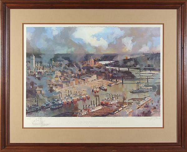NAT YOUNGBLOOD (1916- ) 'City of Pittsburgh 1895', color lithograph, pencil signed limited edition with pencil remarque at lower left, #20/950. Contained in a molded wood frame. Condition: no visible defects, scuffs to frame. Dimensions: 19 3/4'' X