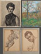 VINCENT NESBERT (Pittsburgh 1898-1976) Four unframed drawings. Comprising: (1) 'North Park May 9th, 1958', pastel, signed lower right, 20 5/8'' X 15 1/2''; (1) Portrait of a woman, charcoal, signed lower right, 25'' X 19''; (2) sepia sketches of a, Vincent Nesbert, Click for value