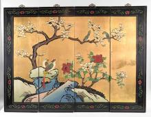 (4) BLACK LACQUERED ASIAN PANELS - Made in Macau, peony & birds with gold painting and brass hangers; Measures: 36''H x 48''W (together) x 1''D - Condition: Age appropriate wear; All items sold as is.