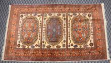 ORANGE RUG, 5' x 3'. Condition: Age appropriate wear. All items are sold as is.