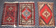 (3) PERSIA HAMDAN THROW RUGS, 2'1'' x 1'5''. Condition: Age appropriate wear. All items are sold as is.