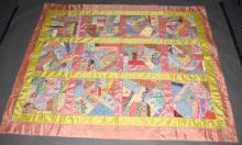 VINTAGE HANDMADE SATIN CRAZY QUILT BY JULIA PATZWAHL - Multiple embroidery and appliques embelish this pastel pallet; signed and dated June 1949-End 1956, Julia Patzwhal was a prestigious dressmaker from Columbia County, she was a dollmaker and fashioned doll clothes after president's wives; dresses are in the Columbia county Museum in Kinderhook; Measures: 80''L x 66''W - Condition: Quilt is in pristine condition; All items sold as is.