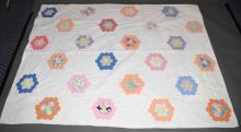 HAND STITCHED DRESDEN PLATE QUILT - Pastel colors; Measures: 62''W x 82''L - Condition: Age appropriate wear; All items sold as is.