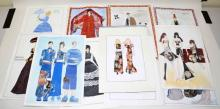 (12) 30'' RUSSIAN FASHION SKETCHES. All signed.