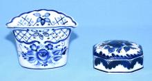 2 PC. RUSSIAN PORCELAIN - Blue and white floral decor. Both marked on base. Condition: Age appropriate wear; All items sold as is.