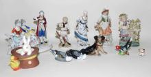SHELF LOT (10) PORCELAIN FIGURES. Condition: Age appropriate wear; All items sold as is.