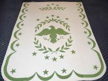 AMERICAN EAGLE QUILT. Condition: Some staining, 8'6''H x 5'7''W.