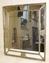 SILVERED CLASSICAL MIRROR. 39''H x 33.5''W. Condition: Some side pieces of molding missing.