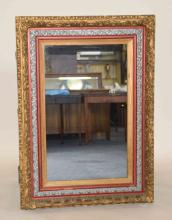 CARVED GOLD, SILVER AND RED WOOD MIRROR. 49''H x 36''W. Condition: Age appropriate wear; All items sold as is.