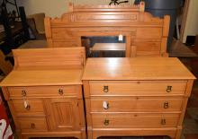 (4) PIECE BEDROOM SET, includes twin bed frame, three-drawer dresser w/mirror and small dresser. Condition: Age appropriate wear. All items sold as is.