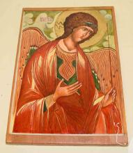 ARCHANGEL MICHAEL OIL ON WOOD, 17''H x 11.5''W. Condition: Age appropriate wear. All items are sold as is.
