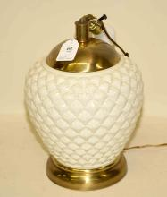 WHITE CERAMIC TABLE LAMP. Condition: Age appropriate wear. All items are sold as is.