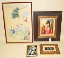 LOT (4) PIECES WALL ART includes Chinese watercolor on silk, enamel on copper and more. Condition: Age appropriate wear: All items are sold as is.