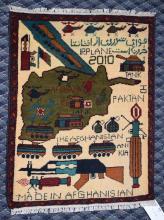 AFGHANI WAR RUG PICTORIAL, 2' x 2.8'.