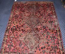 ANTIQUE PERSIAN SHIRAZ, 5.2' x 6.9'.
