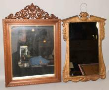 (2) framed mirrors, Gesso mirror, 28''H x 19''W and mahogany mirror w/carved wood top rail, 30''H x 21''W.