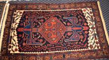 ORIENTAL RUG, 49''W x 76''L. Condition: Age appropriate wear. All items sold as is.