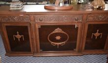 CARVED WOOD BUFFET, 3-drawer and 3 cabinets. 39.5''H x 20''W x 90''L. Condition: Age appropriate wear. All items sold as is.