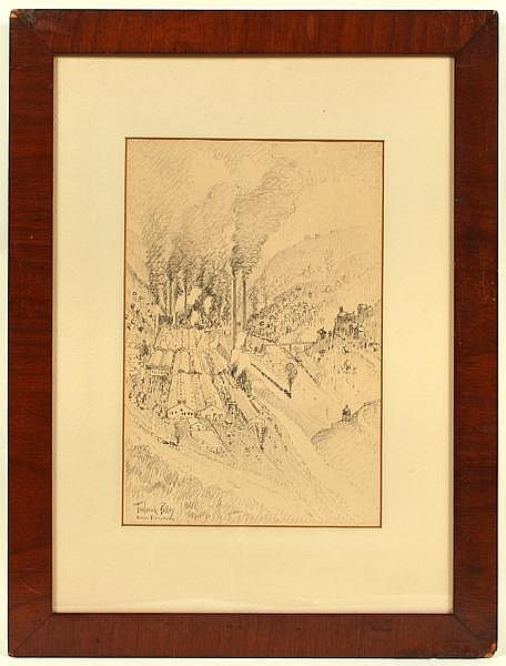 FREDERICK POLLEY (1875-1957) 'East Pittsburgh Works' (Westinghouse Electric Company), charcoal, signed lower left Frederick Polley East Pittsburg. Contained in original matted mahogany frame under glass. Condition: acid matted, chips to frame.
