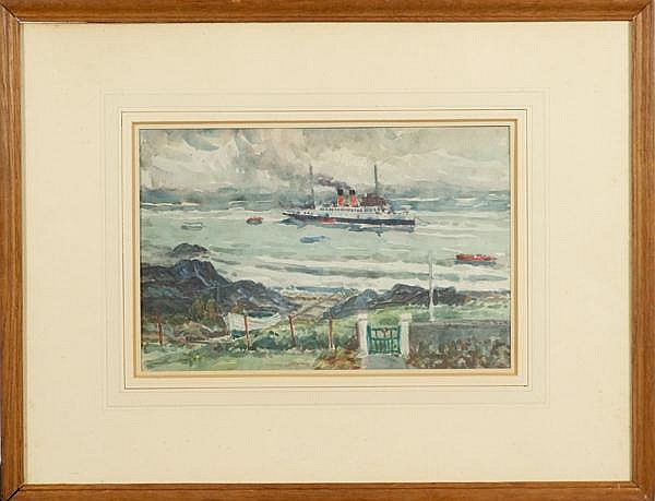 JOHN MILLER R.S.W. (United Kingdom 1893-1975) 'Embarking Passengers Iona', watercolor, unsigned. Label on verso with title, name address and original price: Royal Scottish Society of Painters in Water-Colours. Contained in original matted wood frame