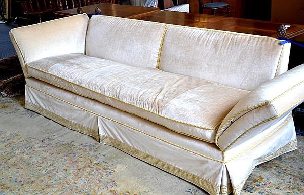 Beau VELVET SOFA Crushed Velvet Upholstered Sofa. Roman Keyboard Skirt. Braided  Trim. Drop Sides
