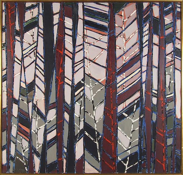 RICHARD BANCROFT BEAMAN (Pittsburgh/California 1909-2003) 'Fire Wake VII (Forest Series)', oil on canvas, signed lower left R.B. Beaman 2-59, titled, signed and dated on verso. Beaman was on the Art Faculty of Carnegie-Mellon University and was the
