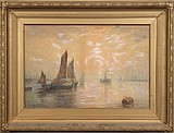 WILLIAM CARLAW (British 1847-1889) Harbor scene at sunset, watercolor, signed lower left Wm. Carlaw and dated 1887. Faded and chipped paper label on verso. Contained in period gold painted frame. Condition: no glass, age appropriate wear. Dimensions: