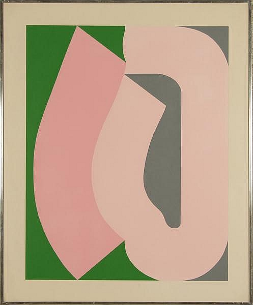 SVEN LUKIN (1934- ) Portfolio #1 1969, color screenprint, unsigned. From edition of 175 published by Pace Editions, Inc. Westinghouse Art Collection label. Contained in silk matted narrow metal frame under glass. Condition: no visible defects.