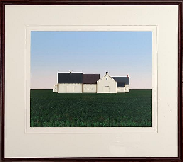 THEODORE JEREMENKO (1938- ) 'Barns', silkscreen, pencil signed and numbered 137/175. Contained in matted wood frame under glass. Label: Gallery G, Pittsburgh, PA. Condition: no visible defects. Dimensions: 19 3/4'' X 25'', frame 33 1/2'' X 37 1/2''.