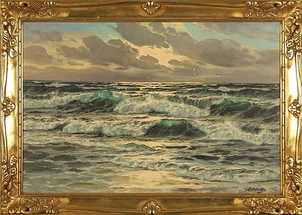 LOTHAR SCHLUTER (German 1928- ) Seascape, oil on canvas, signed lower right L. Schluter. Biographical label on verso. Gallery label: Wunderly Galleries, Pittsburgh, PA. Contained in gilt frame. Condition: no visible defects. Dimensions: 24'' X 36'',