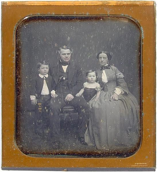 JEREMIAH GURNEY, PHOTOGRAPHER (New York, circa 1840's-1850's) 1/2 plate daguerreotype portrait of family with husband, wife and two children, gilt mat signed J. Gurney 189 Broadway N.Y. No case. Jeremiah Gurney was active from 1840 to 1885.