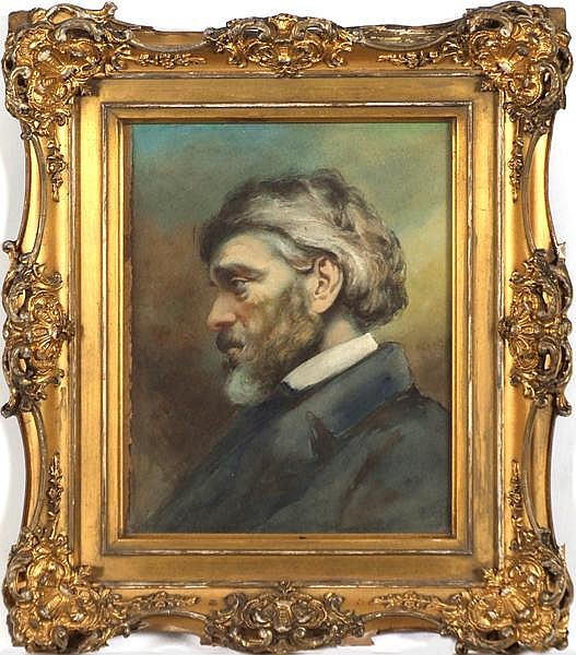 PORTRAIT OF THOMAS CARLYLE (Late 19th-early 20th c.) watercolor, unsigned. Similar to photograph of Carlyle (1795-1881) taken in 1865. Contained in ornate gilt frame under glass. Condition: no visible defects, wear to frame. Dimensions: 10'' X 7