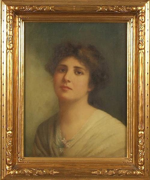 CHARLES BIANCHINI (French 1860-1905) Portrait of a woman, oil on canvas, signed center right C. Bianchini. Contained in molded gilt frame under glass. Condition: no visible defects. Bianchini was a noted costume designer for the Paris Opera.
