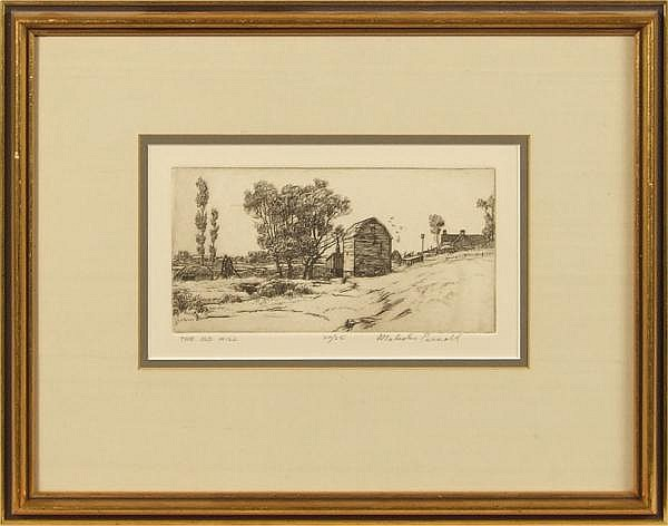 MALCOLM PARCELL (Western PA 1896-1987) 'The Old Mill', engraving, pencil signed, numbered 20/25 and titled. Contained in silk matted gilt frame under glass. Condition: no visible defects. Dimensions: 4'' X 7 3/4'', frame 13'' X 16 1/8''.