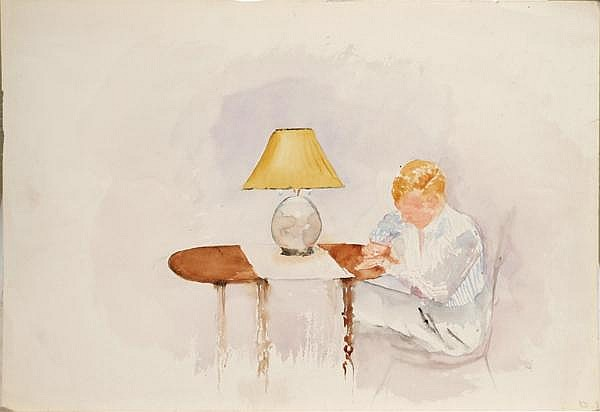 RACHEL MCCLELLAND SUTTON (Pittsburgh 1887-1982) Elliott 1937 Falmouth, watercolor, signed lower right R.D. Titled and signed on verso RDMS. Unframed. Condition: some wear to margins. Dimensions: 14'' X 20''. Provenance: Collection of Graham Shearing.