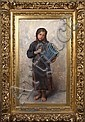 LEON JEAN BASILE PERRAULT (French 1832-1908) Young girl with accordion, oil on canvas, signed lower right L. Perrault and dated 1890. Also signed on verso: Leon Perrault 43 Bl Lamnes Paris 2998. Contained in period ornate gilt gessoed frame., Leon Basile Perrault, Click for value