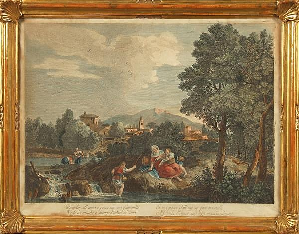 JOSEPH WAGNER (1706-1780) after Francesco Zuccarelli (1702-1788) Fishing in a Venetian landscape, colored engraving, incribed: Zuccarelli pinx Wagner scul. Vena C.P.E.S. Contained in carved giltwood frame under glass. Condition: laid on canvas, some