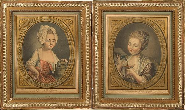 LOUIS-MARIN BONNET (French 1736/1743-1793) 'The Woman Taking Coffee' and 'The Milk Woman', pair of colored aquatints in the manner of pastel with gilt printed frames. (Herold 294,295) Contained in French matted antique parcel gilt frames under glass.