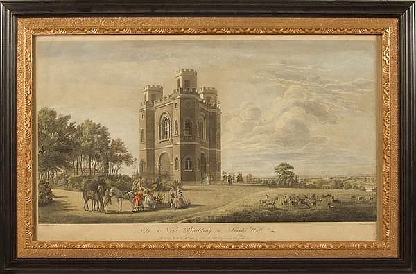 PIERRE CHARLES CANOT (1710-1777) after Thomas Sandby (1721-1798) 'The New Building on Shrubs Hill', hand colored engraving, inscribed: Publish'd March the 2nd 1772 by John Boydell engraver in Cheapside London. ''Fort Belvedere was built around 1750,