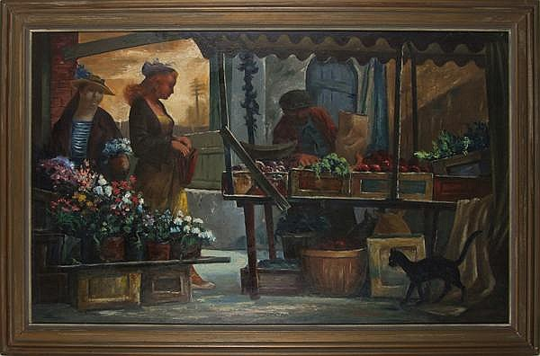 CLYDE J. SINGER (Ohio 1908-1999) 'Market Place', oil on masonite, signed lower right Singer and dated '48. Titled and signed on verso. Contained in painted wood frame. Condition: no visible defects. Dimensions: 29'' X 48'', frame 35 1/4'' X 53 1/4''.