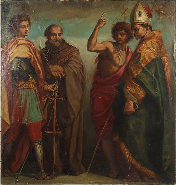 ANDREA DEL SARTO, AFTER (1486-1530) Late 19th c. copy of 'SS. Michael, Giovanni Gualberto, John the Baptist, Bernardo Degli Uberto' also known as 'The Four Saints', oil on canvas laid on board, unsigned with date of 1528. The original is located at
