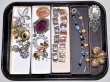 ASSORTED COSTUME JEWELRY - Includes brooches, pendants and bracelets; Designers include Trifari, Sarah Coventry, Rachel Gera and others - Condition: Age appropriate wear; All items sold as is.