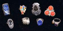 (8) STERLING RINGS - Includes Mexican Sterling; Total Weight: 2.5 ozt - Condition: Age appropriate wear; All items sold as is.