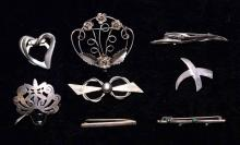(8) STERLING BROOCHES - By Legro, Mexico and others; Total Weight: 2.6 ozt - Condition: Age appropriate wear; All items sold as is.
