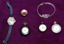 (6) LADIES WATCHES - Includes (3) open face pocket watches, (1) enamel pendant watch and (2) wrist watches; Sterling and gold filled; Makers include Swiss, Pedre and Elfin - Condition: Age appropriate wear; All items sold as is.