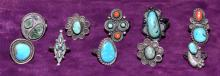 (10) ASSORTED SILVER, TURQUOISE AND CORAL RINGS - Various sizes - Condition: Age appropriate wear; All items sold as is.