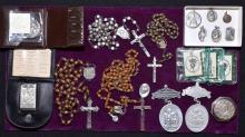 ASSORTED RELIGIOUS LOT - Includes Rosaries and pendants - Condition: Age appropriate wear; All items sold as is.