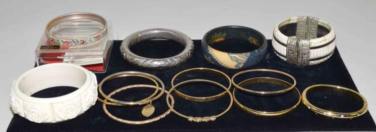 (13) BANGLE BRACELETS - Includes gold filled, petit point, bone and others - Condition: Age appropriate wear; All items sold as is.