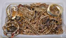BIN LOT GOLD TONE COSTUME JEWELRY - Condition: Age appropriate wear; All items sold as is.