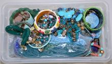 BIN LOT BLUE & GREEN TONE COSTUME JEWELRY - Condition: Age appropriate wear; All items sold as is.